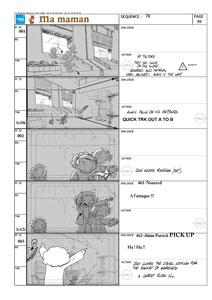 une page de storyboard