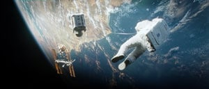 George Clooney et Sandra Bullock lost in the sky